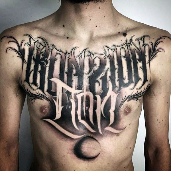 Negative Space Moon Script Mens Lettering Chest Tattoos