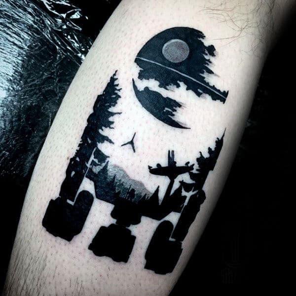 Negative Space Optical Illusion Rd2d Mens Arm Tattoos