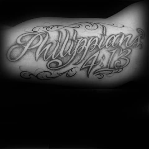 Negative Space Philippians 4 13 Bible Verse Male Inner Arm Bicep Tattoo Ideas