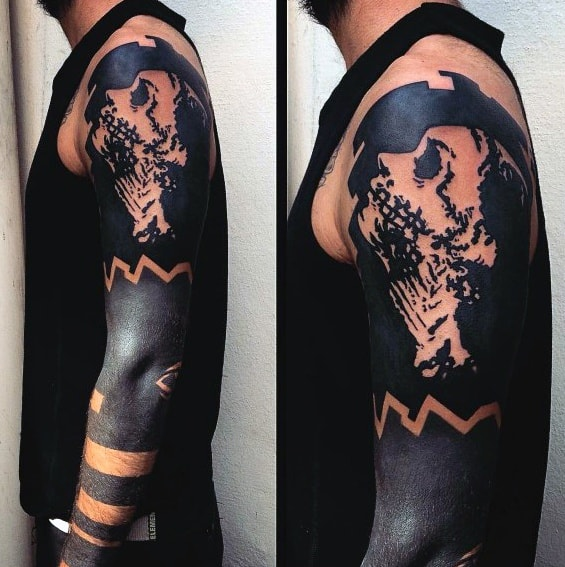 Negative Space Portrait Blackout Sleeve Tattoos Guys