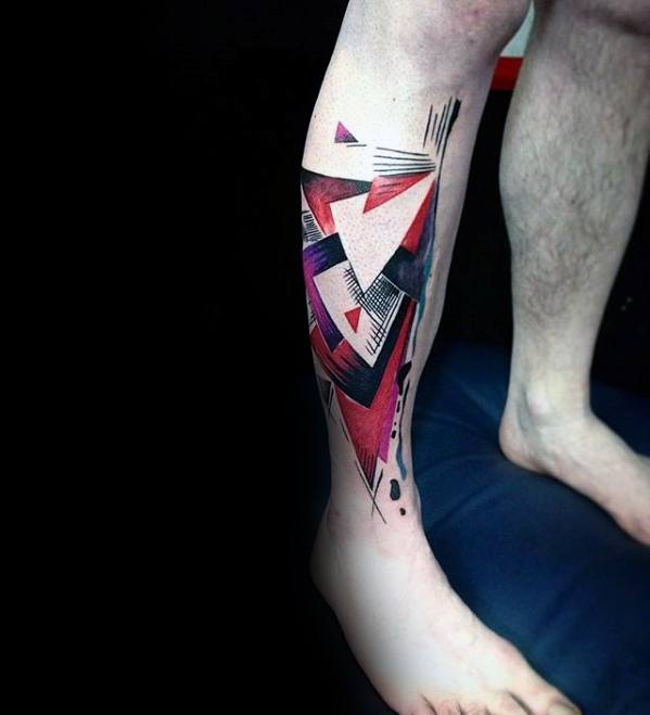 Negative Space Red And Black Ink Shapes Artsy Mens Leg Tattoos