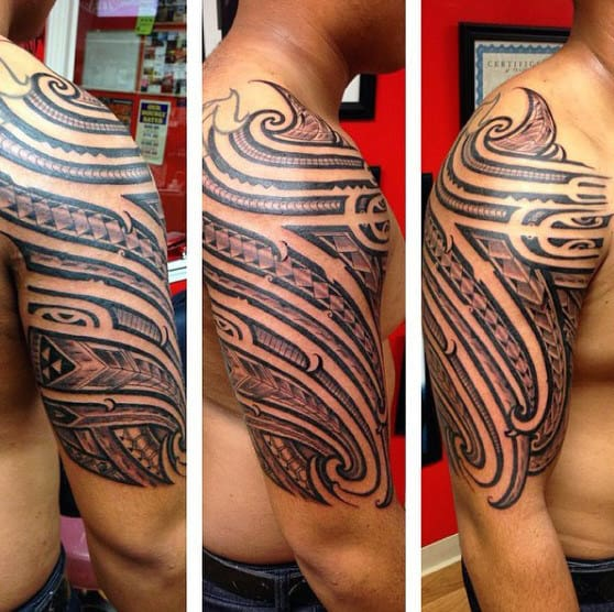 Negative Space Samoan Tribal Male Half Sleeve And Shoulder Tattoos