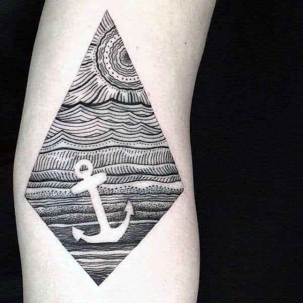 Negative Space Ship Anchor Out At Sea Tattoos On Forearm