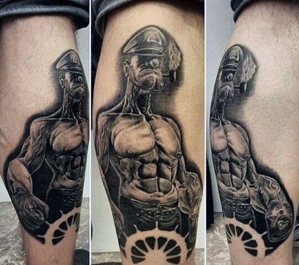 Negative Space Ship Wheel Popeye Mens Leg Calf Tattoo Ideas