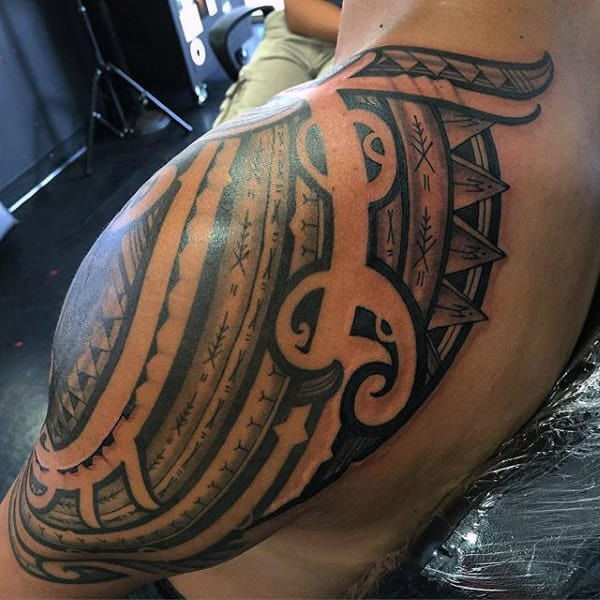 Negative Space Shoulder Tribal Mens Polynesian Tattoo Ideas