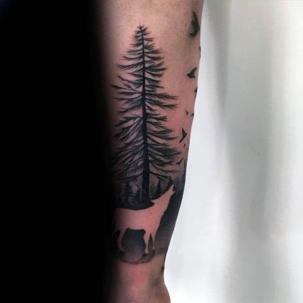 Negative Space Silhouette Tree With Howling Wolf Tattoo For Guys