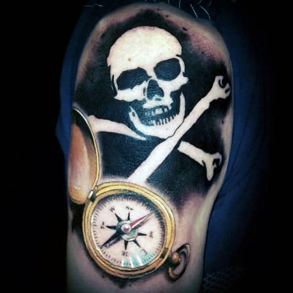 Negative Space Skull And Crossbones Guys Pirate Flag Arm Tattoo