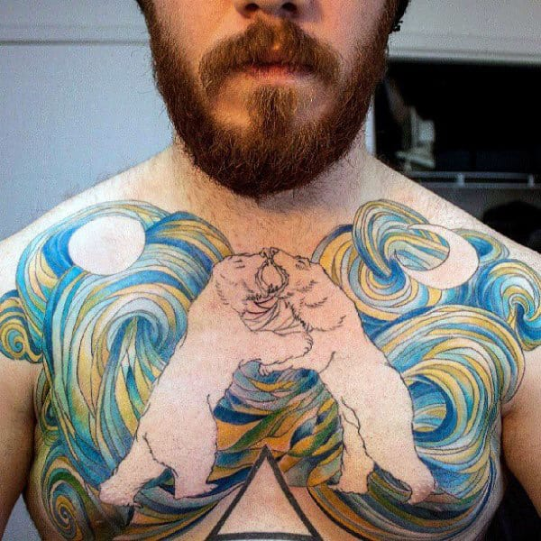 Negative Space Sky Polar Bear Mens Chest Tattoo
