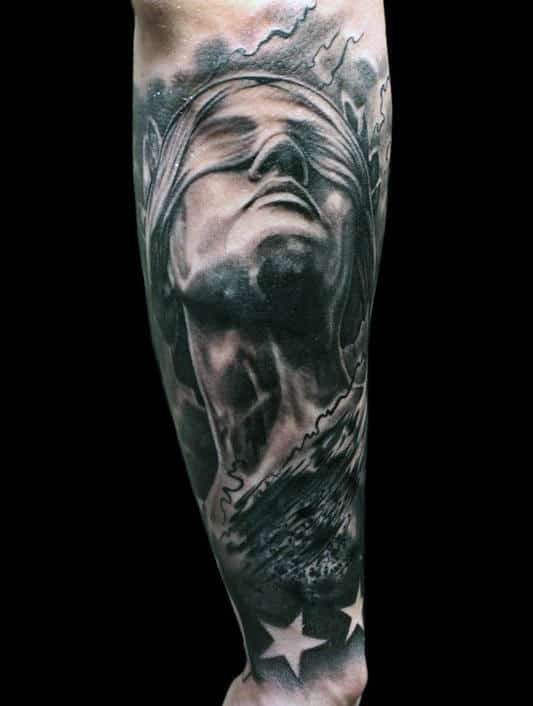 Negative Space Stars Lady Justice Forearm Tattoos For Men