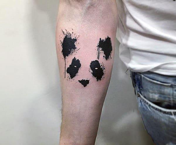 Negative Space Tattoos For Men Of Panda Bear Watercolor Design
