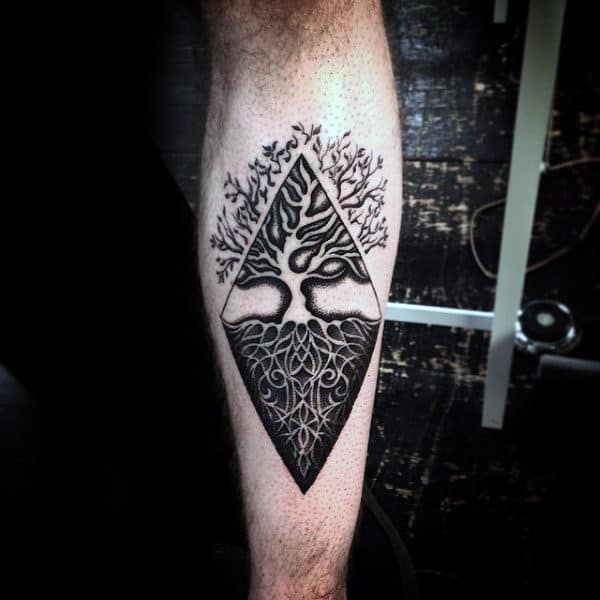 Negative Space Tree Roots Mens Inner Forearm Tattoos