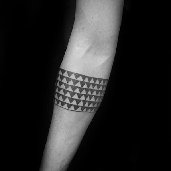 Negative Space Triangles Guys Forearm Band Tattoo Ideas