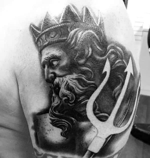 Negative Space Upper Arm Shoulder Trident Neptune Greek God Mens Tattoo Ideas