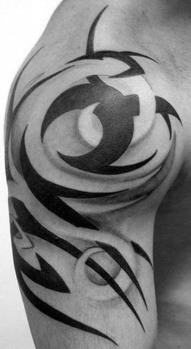 Negative Space With Black Ink Design Guys 3d Tribal Arm Tattoos