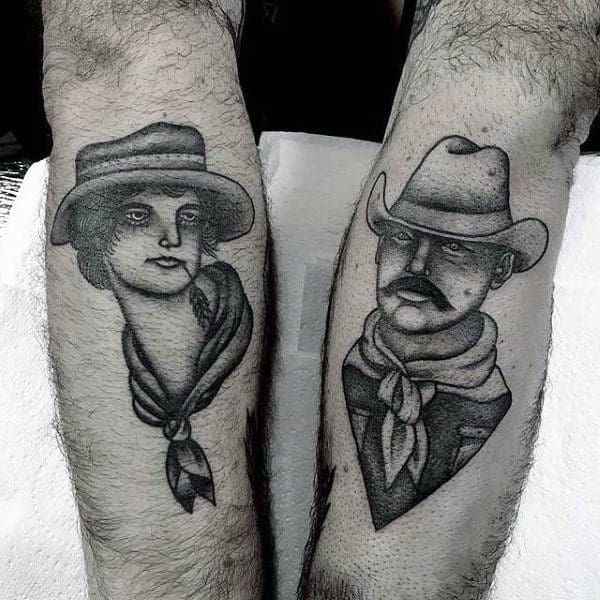 Neo American Shaded Dual Tattoos Cowboy And Girl On Mans Forearm
