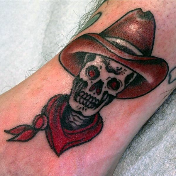 Neo American Skull With Cowboy Hat Tattoo For Guys