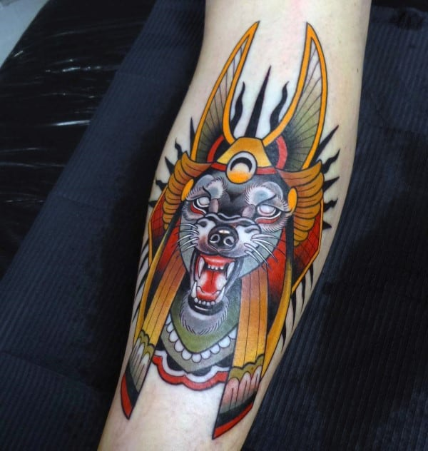 Neo Traditional Anubis Tattoos For Guys On Legs