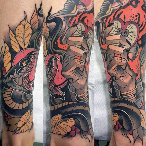 Neo Traditional Apple Snake Mens Lower Leg Sleeve Tattoos