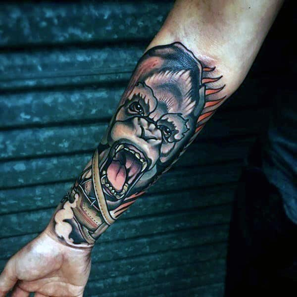 Neo Traditional Badass Mens Forearm Tattoo Sleeves