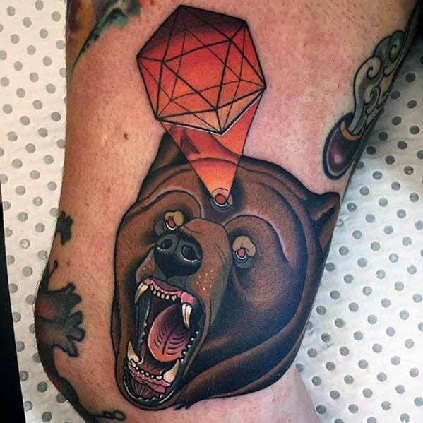 Neo Traditional Bear Tattoo Designs For Men