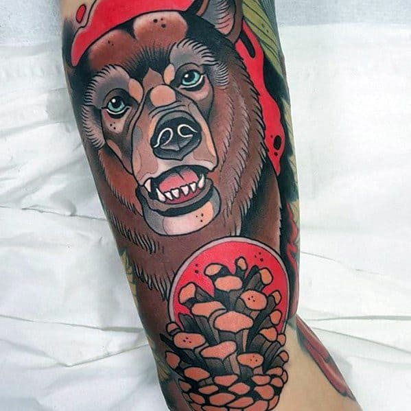 Neo Traditional Bear Tattoo Ideas For Men