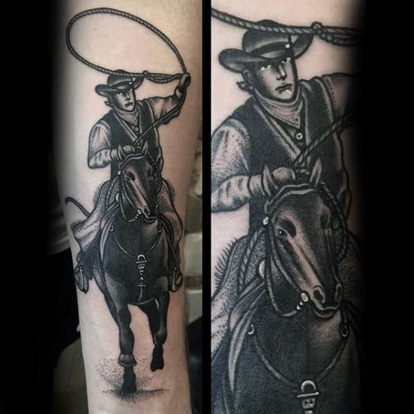 Neo Traditional Black And White Man Riding Horse With Lasso Cowboy Tattoo