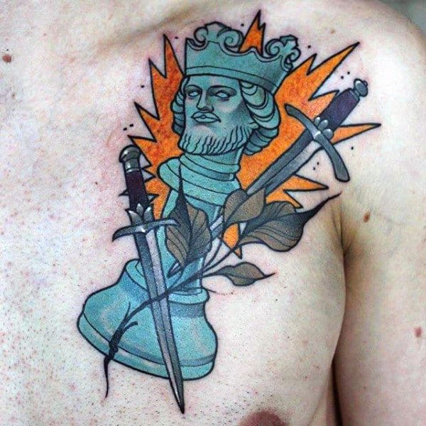 Neo Traditional Blue Ink King Chess Piece Mens Chest Tattoos