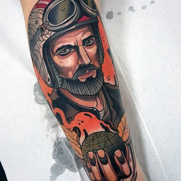 Neo Traditional Colorful Mens Pilot Golding Globe Forearm Tattoo