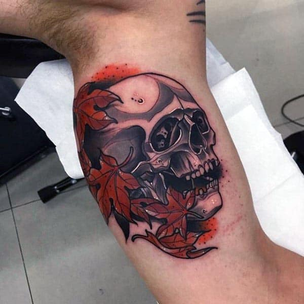 Neo Traditional Cool Guys Arm Tattoo Of Skull With Maple Leaves