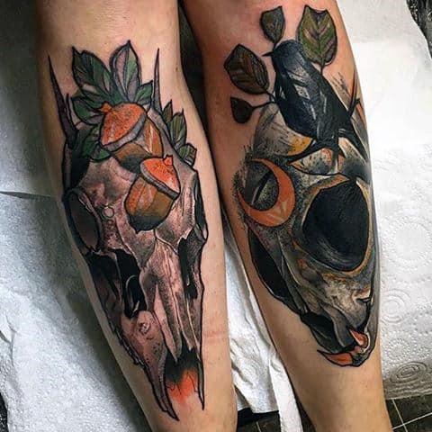 Neo Traditional Deer Skulls Guys Shin Tatoos