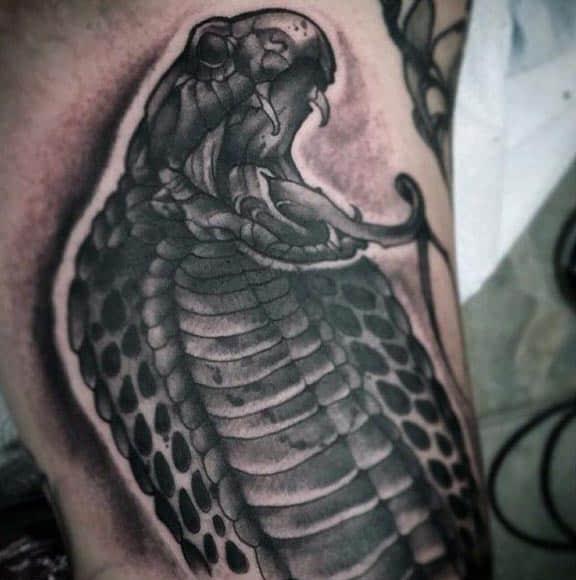 Neo Traditional Detailed Guys Cobra Arm Tattoo