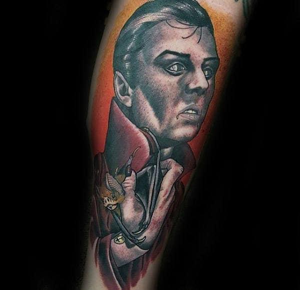 Neo Traditional Dracula Male Forearm Tattoos