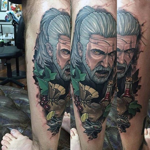 Neo Traditional Geralt Video Game Tattoo On Man