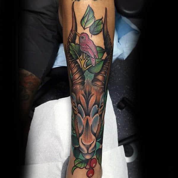 Neo Traditional Goat Shin Male Tattoos