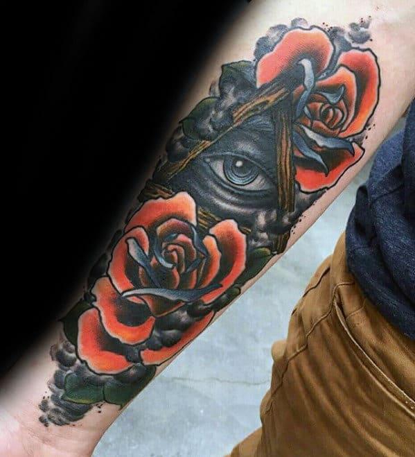 Neo Traditional Guys Eye Of Providence Inner Forearm Tattoo
