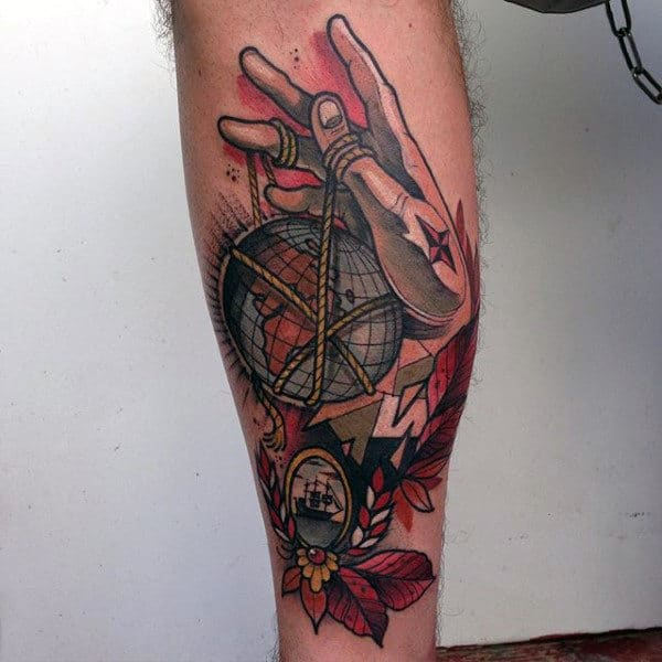 Neo Traditional Guys Hand Holding Globe By String Tattoo On Leg