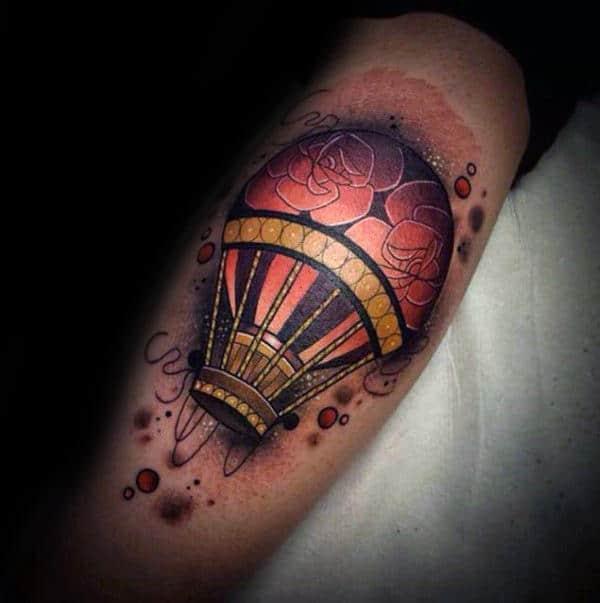 Neo Traditional Guys Leg Calf Hot Air Balloon Tattoos