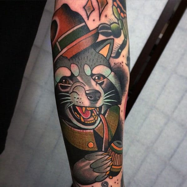 Neo Traditional Guys Raccoon With Pipe Forearm Tattoos