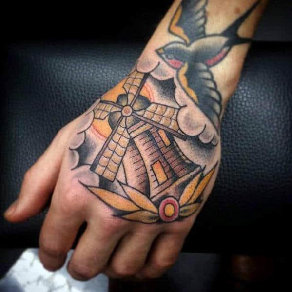 Neo Traditional Guys Windmill Hand Tattoo