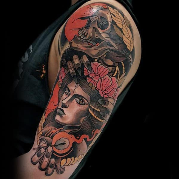 Neo Traditional Half Sleeve Skull With Portrait Male Colorful Tattoo Ideas