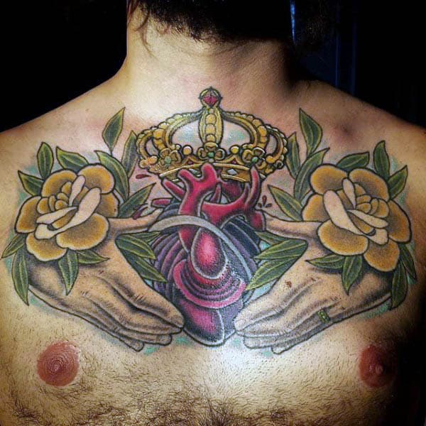 Neo Traditional Hands Clutching Crowned Heart Tattoo Mens Chest