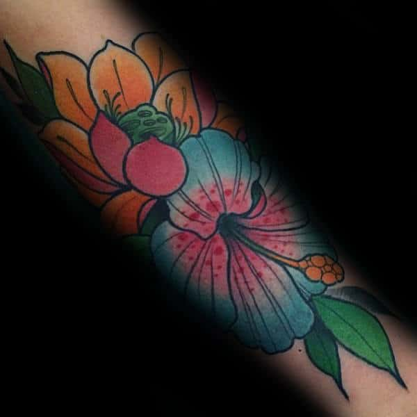 Neo Traditional Hibiscus Tattoo For Guys On Forearm