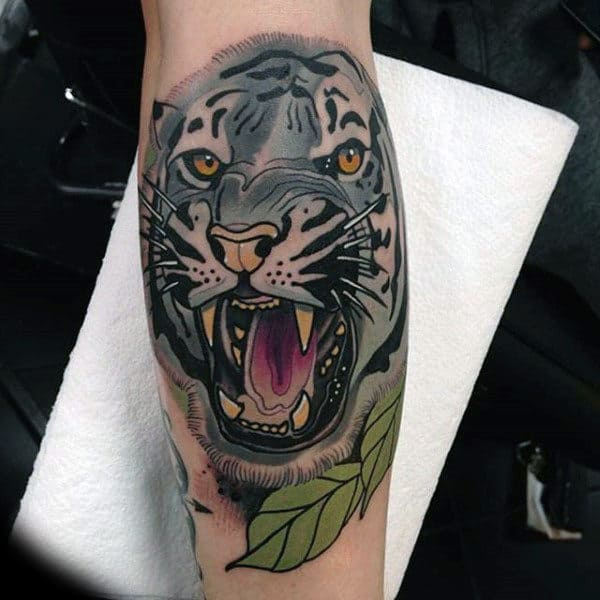 Neo Traditional Jaguar Male Animal Leg Calf Tattoos