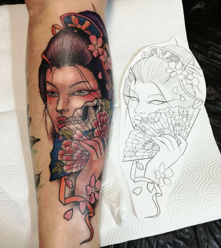 Neo Traditional Lever Kusen Geisha Tattoo