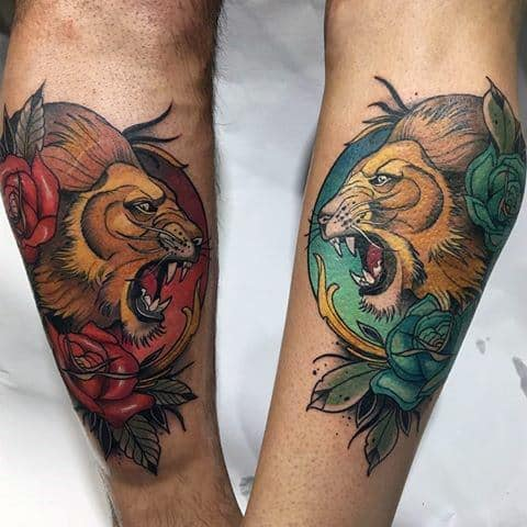 Neo Traditional Lion Guys Tattoo Ideas
