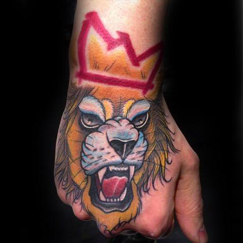 Neo Traditional Lion Male Tattoos