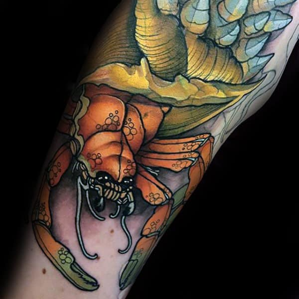 Neo Traditional Male Orange Crab With Shell Tattoo On Arm