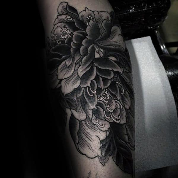 Neo Traditional Male Peony Flower Arm Tattoos