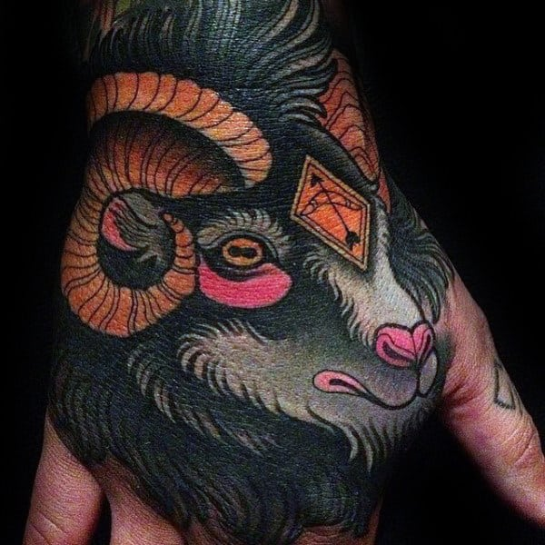 Neo Traditional Male Ram Hand Tattoos