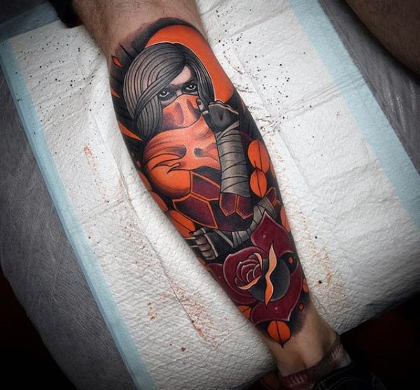 Neo Traditional Male Zelda Tattoo On Leg
